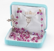 Round 6mm Fuschia Swarovski Crystal Sterling Silver Rosary. Our Catholic Rosaries all have 100% sterling silver parts-pins, chains, medals, crucifixes and clasps. Exclusive designed center and crucifix in sterling silver. Velvet box, USA. HMH