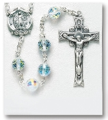 96 Facet Aurora borealis FIREBALL Swarovski Crystal Sterling Silver Rosary. Our Catholic Rosaries all have 100% sterling silver parts-pins, chains, medals, crucifixes and clasps. Exclusive designed center and crucifix.Velvet box, USA. HMH