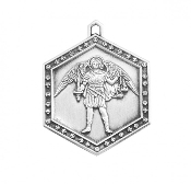 Saint Michael the Archangel Sterling Silver Hexagon Medal