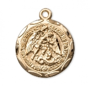 Saint Michael Round 16k Gold Over Sterling Silver Medal