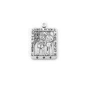 Saint Michael Square Sterling Silver Medal