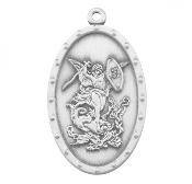 Saint Michael Sterling Silver Oval Shield Medal