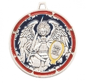 Saint Michael the Archangel Round Sterling Silver Enameled Medal