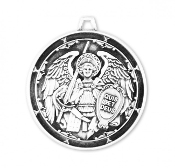 Saint Michael the Archangel Round Sterling Silver Medal