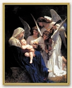 "BOUGUEREAU: HEAVENLY MELODIE .. 8"" x 10"" Crystal Clear Laminated Artboard Print Presented in a Mylar Gold Plague. Made in Italy Gold Framed Everlasting Plaque, Clear Lamination."