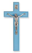 "7"" Blue Wood Cross Antiqued Silver Plated Corpus ...Wall Crucifix. (Boxed)"