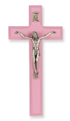 "7"" PINK Wood Cross Antiqued Silver Plated Corpus ...Wall Crucifix. (Boxed)"