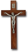 WALNUT CROSS WITH ANTIQUE SILVER CORPUS ...Wall Crucifix. (Boxed)