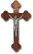 "10"" LATIN STYLE WALNUT CROSS PEWTER CORPUS WALL Crucifix..Cross with REAL Genuine Pewter Corpus. Made from Furniture Grade Wood (Comes Gift Boxed)"
