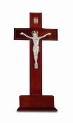 "10"" STANDING DARK CHERRY WOOD CROSS WITH SILVER CORPUS...10"" Standing CRUCIFIX Cross on Base with Silver Plated ""Salerni"" Corpus. Made from Furniture Grade Wood (Comes Gift Boxed)"