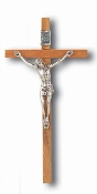 "4.75"" Brown WOOD Hanging WALL Crucifix with Silver Corpus Italian"