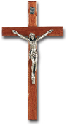 "10"" ITALIAN WALNUT CATHOLIC WALL CROSS SILVER FINISH (Comes Gift Boxed)"