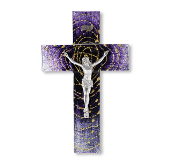 "10"" EXTENDED GOLD HALO IN SPIRAL DARK TO LIGHT PURPLE PEWTER CORPUS.Deluxe Imported Stained Glass. Wall Crucifixes. Features American Made Metal Corpus. (Comes Gift Boxed)"