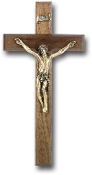 "12"" WALNUT WOOD CROSS WITH MUSEUM GOLD CORPUS WALL CRUCIFIX....Oak Cross with Museum Gold Plated Corpus Made from Furniture Grade Wood (Comes Gift Boxed)"