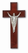 "8"" Dark Cherry Cross Antique Silver Plated Cipolletti Risen Christ (Comes Gift Boxed)"
