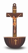 "5.5"" Bronze Colored Crucifix Plastic Holy Water Font With Gold Highlights"