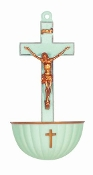 "5.5"" LUMINOUS Colored Crucifix Plastic Holy Water Font With Gold Highlights"