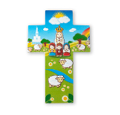 "5.75"" LITTLE DROPS OF WATER RESIN OUR LADY OF FATIMA CROSS-5.75"" Little Drops Of Water Resin Cross. Comes With Wall Hanger And Is Boxed."