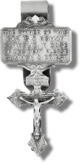 "PARDON CRUCIFIX Genuine Pewter with Antique Finish Hand Engraved..Genuine Pewter with Antique Finish, Hand Engraved Auto Visor Clip 3.3 X 1.5"" MADE IN USA"