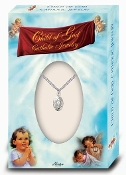 "Dainty Silver Plated Miraculous Medal on a 13"" Chain BOXED. Baptism Gifts Bay Gifts"