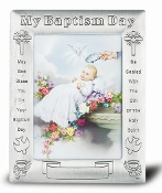 "Baptism Antique Pewter Photo Frame 5.5"" x 7"" Overall Size Boxed"