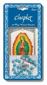"Our Lady of Guadalupe Deluxe Chaplet with Light Blue Glass Beads Packaged with a Laminated Holy Card & Instruction Pamphlet (Overall 6.5"" x 3.5"")"