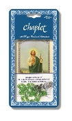 "Saint Jude Deluxe Chaplet with Green Glass Beads Packaged with a Laminated Holy Card & Instruction Pamphlet (Overall 6.5"" x 3.5"")"