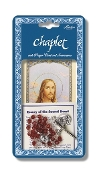 "Sacred Heart of Jesus Deluxe Chaplet with Red Glass Beads Packaged with a Laminated Holy Card & Instruction Pamphlet (Overall 6.5"" x 3.5"")"