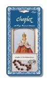 "Infant of Prague Deluxe Chaplet with Dark Red Glass Beads Packaged with a Laminated Holy Card & Instruction Pamphlet (Overall 6.5"" x 3.5"")"