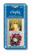 "Divine Mercy Deluxe Chaplet with Oval Red Beads Packaged with a Laminated Holy Card & Instruction Pamphlet (Overall 6.5"" x 3.5"")"