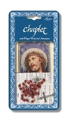"Precious Blood Deluxe Chaplet with Red Glass Beads Packaged with a Laminated Holy Card & Instruction Pamphlet (Overall 6.5"" x 3.5"")"