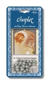 "Blessed Sacrament Deluxe Chaplet with Grey Round Beads Packaged with a Laminated Holy Card & Instruction Pamphlet (Overall 6.5"" x 3.5"")"