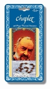 "Saint Pio Deluxe Chaplet with Oval Wood Beads Packaged with a Laminated Holy Card & Instruction Pamphlet (Overall Size 6.5"" x 3.5"")"
