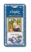 "Saint Anne Deluxe Chaplet with Blue Glass Beads Packaged with a Laminated Holy Card & Instruction Pamphlet (Overall 6.5"" x 3.5"")"