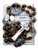 "Stations of the Cross Deluxe Chaplet with Brown Wood Beads Packaged with a Laminated Holy Card & Instruction Pamphlet (Overall 6.5"" x 3.5"")"