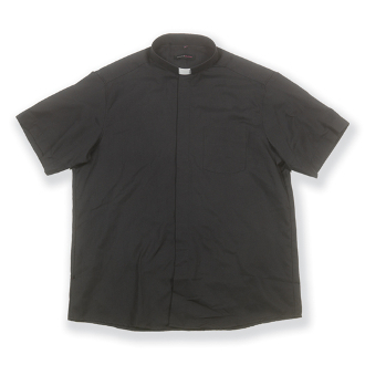 Free Shipping-100% Cotton Black Short Sleeve Single Pocket Clergy Shirt. This Highest Quality European Tailored Shirt. Our Handsome First Quality European Dyed Cloth helps maintain color and shape. (Tag Collar Insert Included) WJH