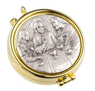 Our Deluxe Pyxes are known for the most Beautiful intricate designs-Made in Italy-Gold Last Supper Pyx With Silver Oxidized Insert Holds 7 Hosts