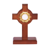 DARK CHERRY WOOD RELIQUARY WITH GOLD PLATED INSERT 7 1/2""