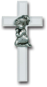 "White 7"" Cross with Genuine Pewter Praying Girl Figure Gift Boxed Imported Italy.. Baby Baptism Gifts."