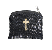 "BLACK REPTILE PATTERN GOLD CROSS STAMPED 3""X4"" ROSARY CASE HOLDER POUCH"