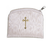 "Beige Raw Silk Gold Stamped BAMBOO TEXTURED Rosary Case GOLD CROSS STAMPED 3""X4"" ROSARY CASE HOLDER POUCH"
