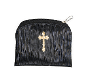 "Black Raw Silk Gold Stamped BAMBOO TEXTURED Rosary Case GOLD CROSS STAMPED 3""X4"" ROSARY CASE HOLDER POUCH"
