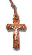 "Italian Made Olive Wood Crucifix 1-3/4"" on 27"" Cord Boxed..1-3/4"" Italian Made Olive Wood Crucifix with Antique Silver Corpus. Fine Laser Cut Details. 27"" Cord (Boxed)"