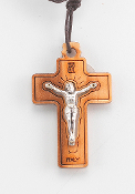 "1-1/2"" Italian Made Olive Wood Crucifix with Antique Silver Corpus. Fine Laser Cut Details. 27"" Cord (Boxed)"