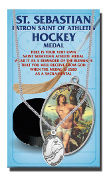 "ST SEBASTIAN MEN'S HOCKEY OVAL Sport MEDAL 24"" Chain...Genuine Pewter Saint Sebastian Patron Saint of Athletes. Double sided Sports Medals with Stainless Chain. Saint Sebastian Prayer Card is Included. Gives Attributes and Feast Day"