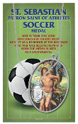"ST SEBASTIAN MEN'S SOCCER OVAL Sport MEDAL 24"" Chain...Genuine Pewter Saint Sebastian Patron Saint of Athletes. Double sided Sports Medals with Stainless Chain. Saint Sebastian Prayer Card is Included. Gives Attributes and Feast Day"