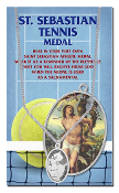 "ST SEBASTIAN MEN'S TENNIS OVAL Sport MEDAL 24"" Chain...Genuine Pewter Saint Sebastian Patron Saint of Athletes. Double sided Sports Medals with Stainless Chain. Saint Sebastian Prayer Card is Included. Gives Attributes and Feast Day"