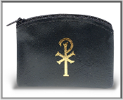 "2.5"" x 3"" Black Calf Grain Vinyl Rosary Pouch Holder, Case"