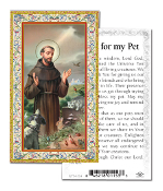 Saint Francis Prayer To My Pet Gold Embossed Italian Holy Card