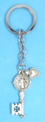 KEY CHAINS Silver Finish ST BENEDICT KEY SHAPED on STAINLESS STEEL LOOP/CHAIN 5""""